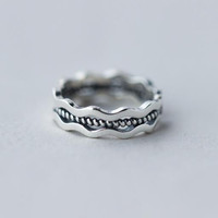 925 sterling silver national wind restoring ancient ways Thai silver ring ring ring wave personality opening ring + Nice gift box ALQ