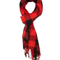 Lightweight Plaid Fringe Wrap Scarf by Charlotte Russe