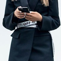 OFF-WHITE Women Men White+Black Word Belt Silver&White