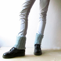 Boot cuff / woman boot sock cuff / mint blue leg warmers / Rustic clothing / CHOOSE YOUR COLOR