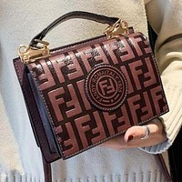 FENDI Hot Sale Popular Women Shopping Leather Handbag Tote Shoulder Bag Crossbody Satchel Coffee