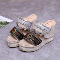 Gucci Sandals Shoes Hemp Rope Color Film Casual Women Slippers