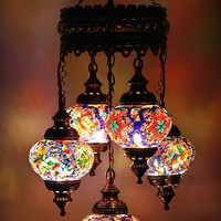 5ball * LED TECHNOLOGY Turkish Moroccan Hanging Glass Mosaic Chandelier Lamp Lighting 110-240v