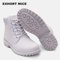 Work Boots for Women. Round Toe, Flat Ankle Boots, Candy Color Marten Style Boots Size 36-41