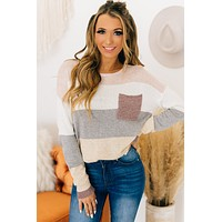 Because Of You Color Block Sweater (Mauve Combo)