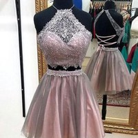 Lace Tulle Short Cute Homecoming Dress