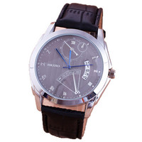 Mens Black Leather Strap Watch with Display Date Best Gift