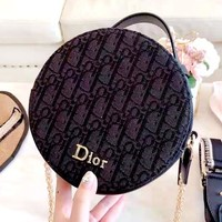 Dior Tide brand female classic D letter retro simple small round bag shoulder bag