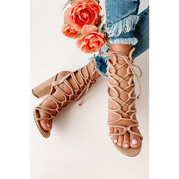 IMPERFECT Rags To Riches Lace Up Heeled Gladiator Sandals (Camel Suede)