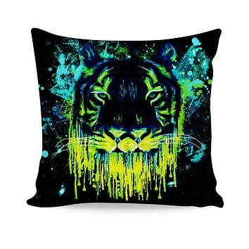 Tiger Drippy Couch Pillow