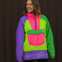 """80's Neon Ski Jacket / Unisex Electric ColorBlock Pullover Winter Parka / Vintage Puffer Windbreaker Anorak AVV by Sorry """"Surf on Ice"""" L XL"""