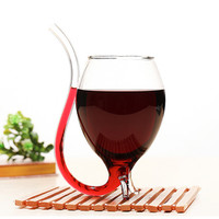 2Pieces 11oz Big Size Wine Glass With Build-in Straw Wine Enthusiast Port Sippers