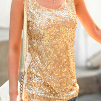 Sequinned Tank Top - Gold