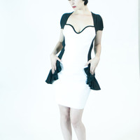 Starlet Dress- Black & White, Organic Cotton, Backless Dress- Made to Measure