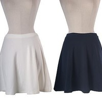 Sexy Solid Foldover High Waist A-Line Flared Pleated Skater Peplum Mini Skirt