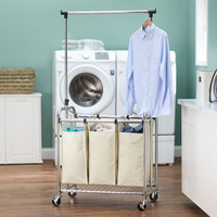 3-Bag Laundry Sorter with Clothes Rack