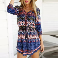 Mixed Print V Neck Long Sleeve Shirtwaist Pleated Mini Dress