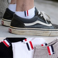 35-43 TB Ankle Socks Anklet Men Business Boyfriend Fashion Solid Guy Gentleman Invisible White Black Gray Grey Work Daily Casual