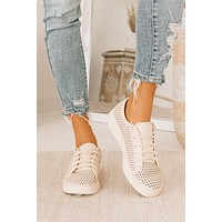 Playing Favorites Perforated Sneakers (Beige)