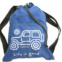 "All Things Jeep - Life is good ""Native Offroad"" Cinch Sack (White Jeep on Aqua Blue)"
