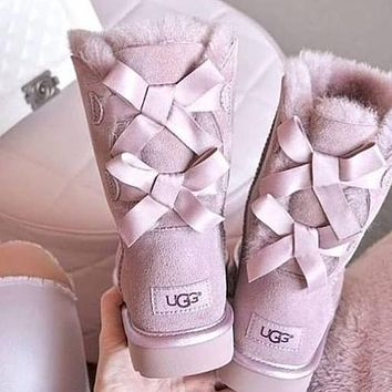 UGG hot sale high top snow boots trendy two bow tie straps plush hand-stitched non-slip plush boots fashion ladies snow boots