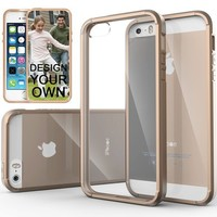 iPhone 5S Case, Caseology® [Fusion Series] Scratch-Resistant Clearback Cover [Beige] [Dual Bumper] for Apple iPhone 5S - Beige