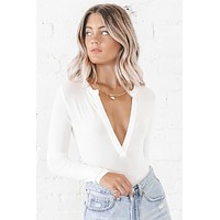 It's Been Awhile White Long Sleeve Bodysuit