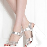 Silver Faux Leather Cross Strap Lug Sole Heels @ Cicihot Heel Shoes online store sales:Stiletto Heel Shoes,High Heel Pumps,Womens High Heel Shoes,Prom Shoes,Summer Shoes,Spring Shoes,Spool Heel,Womens Dress Shoes