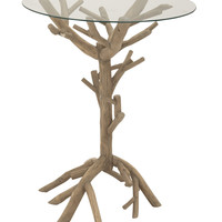 Attractive And Unique Wood Glass Accent Table