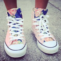 Pink Floral Converse