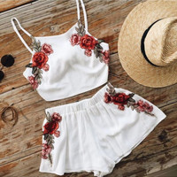 White Floral Embroidered Two Piece Dress B0014204
