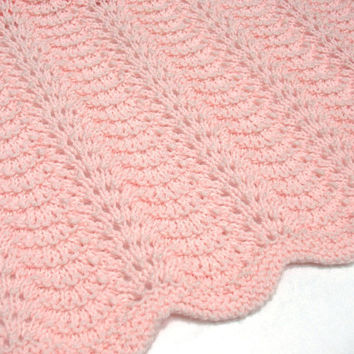 Knit Baby Blanket Pink Girl Heirloom Lace by SticksNStonesGifts