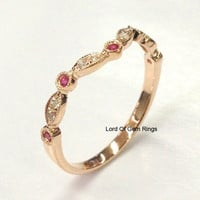 Ruby Diamond Wedding Band Half Eternity Anniversary Ring 14K Rose Gold Art Deco Curved