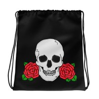 Skull and Rose Black Drawstring Bag