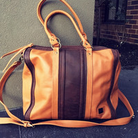 Tan real leather handmade handbag. Beautifully crafted details in this bowling bag design. Real leather tan tote bag handbag, Quality,lined.