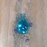 Wire Decorated Blue Bottle Silver Flowers Leaves Home Decor Hippie Boho Shabby Chic Wall Art Outside Garden Patio Decorated Bottle