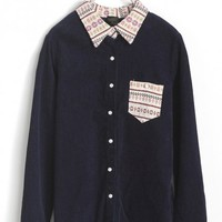 OASAP - Embroidered Collar Corduroy Shirt - Street Fashion Store