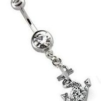 Body Accentz™ Belly Button Ring Navel CZ Anchor Body Jewelry 14 Gauge