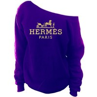 Hermes Paris Off-The-Shoulder Oversized Slouchy Sweatshirt