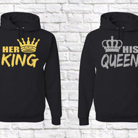 Her King His Queen Matching Couples Hooded Sweatshirts