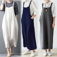 2018 summer jumpsuit woman Cotton Cargo Pants Bib Overalls Dungaree Wide Leg Trousers Romper Bodysuit pantaloni siamesi J21#N