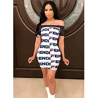 FENDI Summer Newest Hot Sale Women Sexy Print Shorts Sleeve Strapless Off Shoulder Dress White