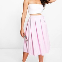 Elsa Full Textured Midi Skirt | Boohoo