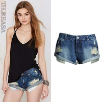 Ripped Holes Denim Low Waist Pants Shorts [11597536399]