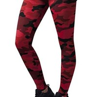 Red Camouflage Print Skinny Sports Yoga Workout Long Legging