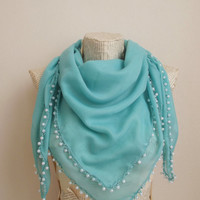 Pearl Scarf, Cotton  Lightweight Soft Ivory Scarf with Pearls, Beaded Crochet Embroidery Lace, Handmade