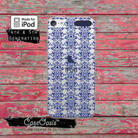 Blue Damask Pattern Floral Elegant Fancy Pattern for Clear Transparent Rubber iPod Touch 5th Generation Case 5th Gen Cover