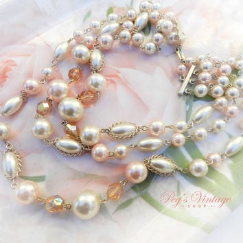 Beautiful Vintage Three Strand Pearl Necklace, Pastel Pink  Bead Choker, Multi Strand Japan Necklace