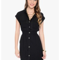Black Babe Short Sleeve Button Up Dress | $10 | Cheap Trendy Casual Dresses Chic Discount Fashion f