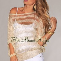 Cream Gold Sequins Accent Shredded Off-The-Shoulder Top